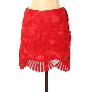 Lovers + Friends Embroidered Red Miniskirt Sz M